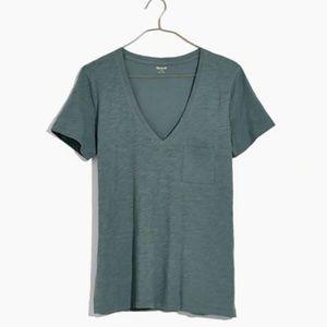Madewell whisper cotton v-neck pocket tee XS
